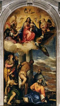 Virgin and Child with angel musicians and Saints by Veronese