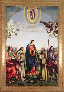 Annunciation and Saints, 1500 by Il Francia