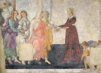 Venus and the Graces offering gifts to a young girl von Sandro Botticelli