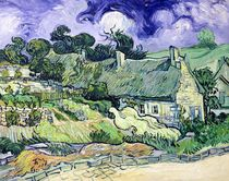 Thatched cottages at Cordeville by Vincent Van Gogh