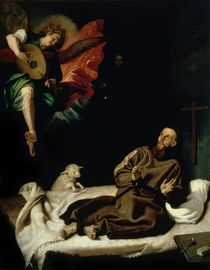 St. Francis comforted by an Angel Musician by Francisco Ribalta