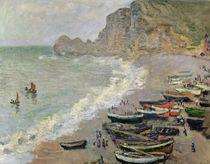 Etretat, beach and the Porte d'Amont von Claude Monet