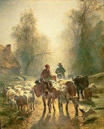 Setting off For Market von Constant-Emile Troyon