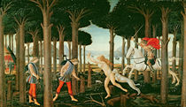 Nastagio's Vision of the Ghostly Pursuit in the Forest: Scene I of The Story of Nastagio degli Onesti von Sandro Botticelli