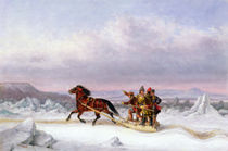 Crossing the St. Lawrence from Levis to Quebec on a Sleigh von Cornelius Krieghoff