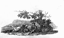 Man Seated by a Stunted Tree from 'History of British Birds and Quadrupeds' von Thomas Bewick