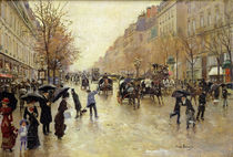 Boulevard Poissonniere in the Rain by Jean Beraud
