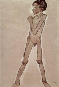 Nude Boy Standing by Egon Schiele