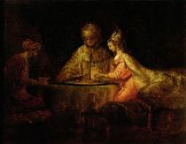 Ahasuerus , Haman and Esther von Rembrandt Harmenszoon van Rijn