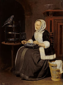 Young Girl at Work by Gabriel Metsu