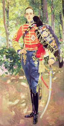 Portrait of King Alfonso XIII wearing the uniform of the Hussars von Joaquin Sorolla y Bastida