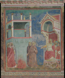 The Trial by Fire, St. Francis offers to walk through fire by Giotto di Bondone