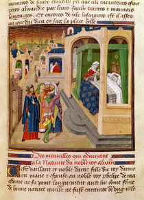 Fol.10r The Wonders that Happened at the Birth of Alexander the Great illustration from a book by Jean Wauquelin by French School