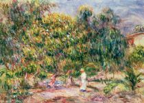The woman in white in the garden of Les Colettes by Pierre-Auguste Renoir