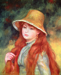Young girl with long hair, or Young girl in a straw hat, 1884 von Pierre-Auguste Renoir