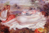 Bather reclining and a young girl doing her hair von Pierre-Auguste Renoir
