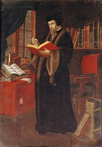 Portrait of John Calvin , French theologian and reformer by French School