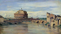 Castel Sant' Angelo and the River Tiber by Jean Baptiste Camille Corot