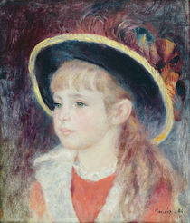 Portrait of a Young Girl in a Blue Hat von Pierre-Auguste Renoir