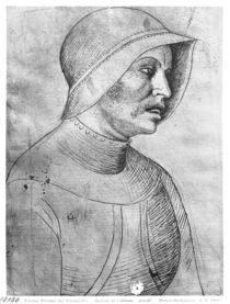 Soldier wearing a helmet, from the The Vallardi Album by Antonio Pisanello