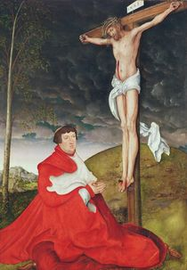 Albert, Cardinal Elector of Mainz at the foot of the Cross by Lucas, the Elder Cranach