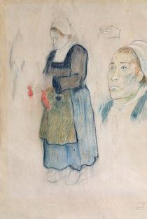 Studies of Breton peasants by Paul Gauguin