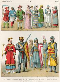French Dress, c.1100, from 'Trachten der Voelker' von Albert Kretschmer