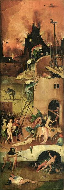 The Haywain: right wing of the triptych depicting Hell by Hieronymus Bosch