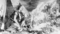 """'Pictures in the Fire', cartoon from 'Tomahawk' magazine von Matthew """"Matt"""" Somerville Morgan"""