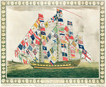 A King's Ship dressed with the colours of different nations by English School