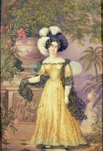 Lady Rowe, standing small full length on a terrace by Isaac Mendes Belisario