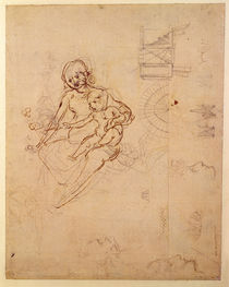 Studies for a Virgin and Child and of Heads in Profile and Machines von Leonardo Da Vinci