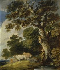 A wooded landscape with cattle and herdsmen by Gainsborough Dupont