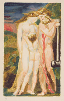 A nude woman looking down at a half-grown boy by William Blake
