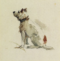 A Terrier, sitting facing left von Peter de Wint