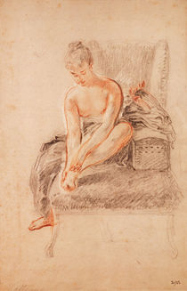 Semi-nude woman seated on a chaise longue by Jean Antoine Watteau