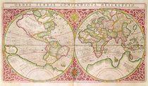 Double Hemisphere World Map by Gerardus Mercator