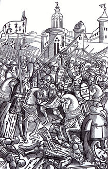 The Battle of Auray, from 'Chroniques de Bretagne' by Alain Bouchard by French School
