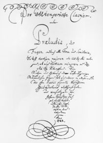 Handwritten Titlepage of The Well Tempered Piano by Johann Sebastian Bach