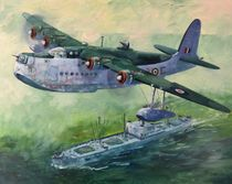 Short Sunderland over liberty ship by Geoff Amos