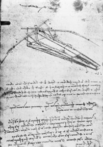 MS B 2173, folio 74v: Study for a flying machine by Leonardo Da Vinci