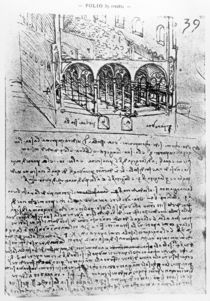 Studies for stables, Folio 39r von Leonardo Da Vinci