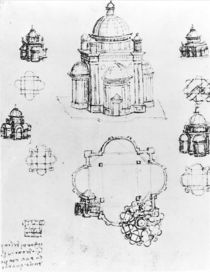 Studies for a building of a centralised plan von Leonardo Da Vinci
