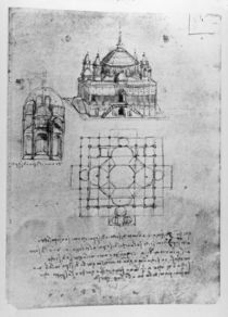 Design for a church, fol. 4r by Leonardo Da Vinci
