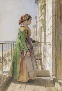 A Greek Girl Standing on a Balcony