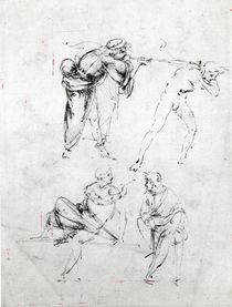 Study of a man blowing a trumpet in another's ear by Leonardo Da Vinci