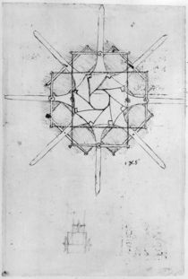 Design for a folding Capstan handle by Leonardo Da Vinci