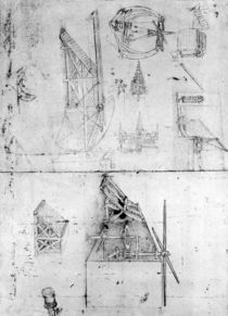Machinery designs, fol. 394v by Leonardo Da Vinci