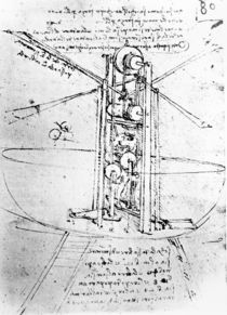 Vertically standing bird's-winged flying machine by Leonardo Da Vinci