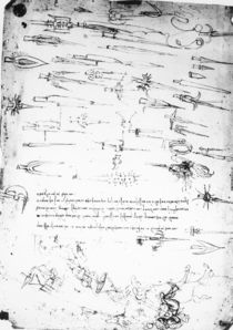 Sheet of studies of foot soldiers and horsemen in combat by Leonardo Da Vinci